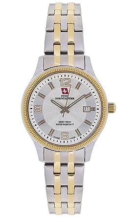 Swiss Mountaineer Ladies Swiss Watch Two Tone Stainless Steel Bracelet Gold Tone Bezel Date Reloj SML8006