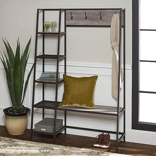 WE Furniture 5 Shelf Entryway Bench Hall Tree Storage Coat Rack, 72 Inch, Grey