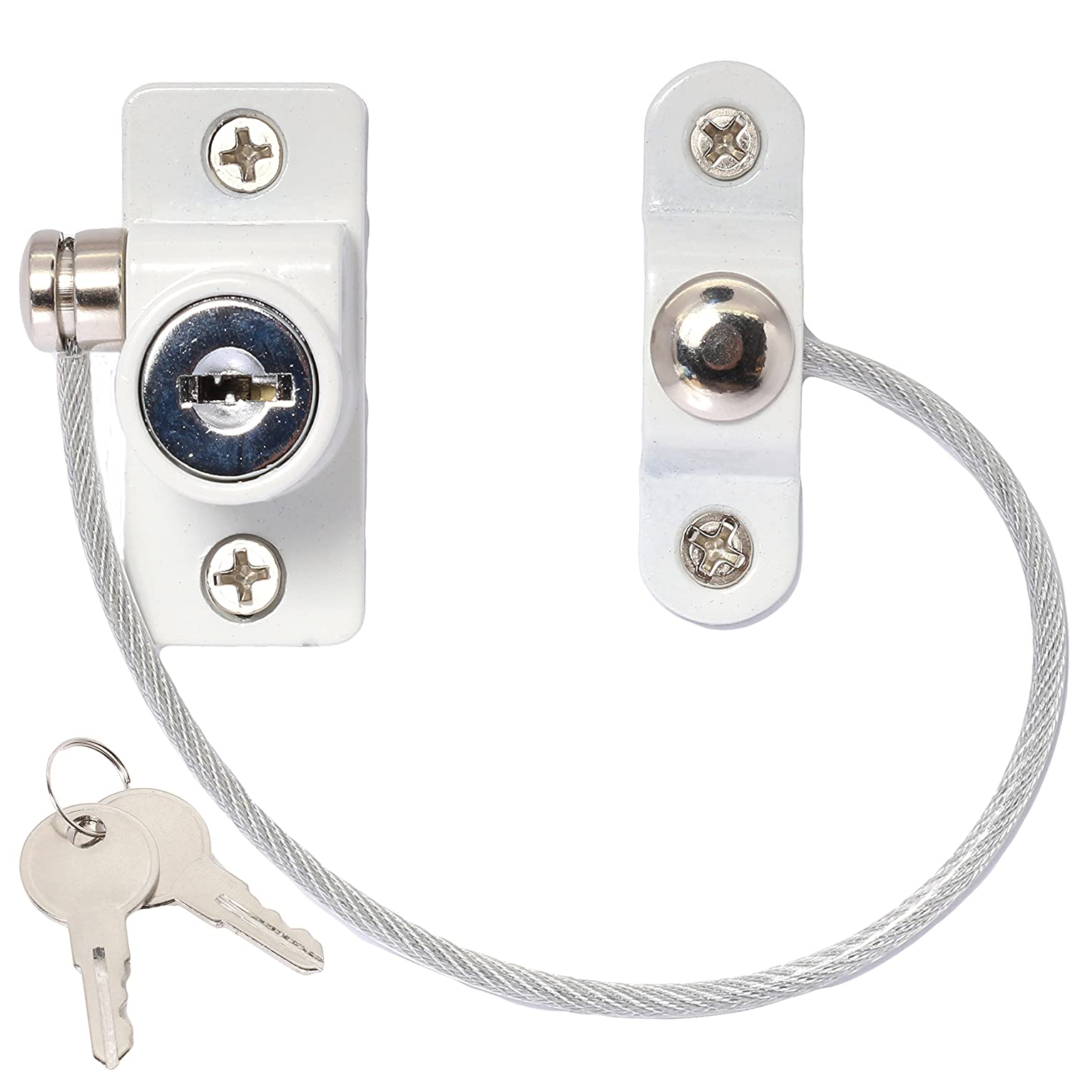 2 x Window Restrictor Security Cable Child & Baby Safety Locks - Keyed Alike (White) White Hinge