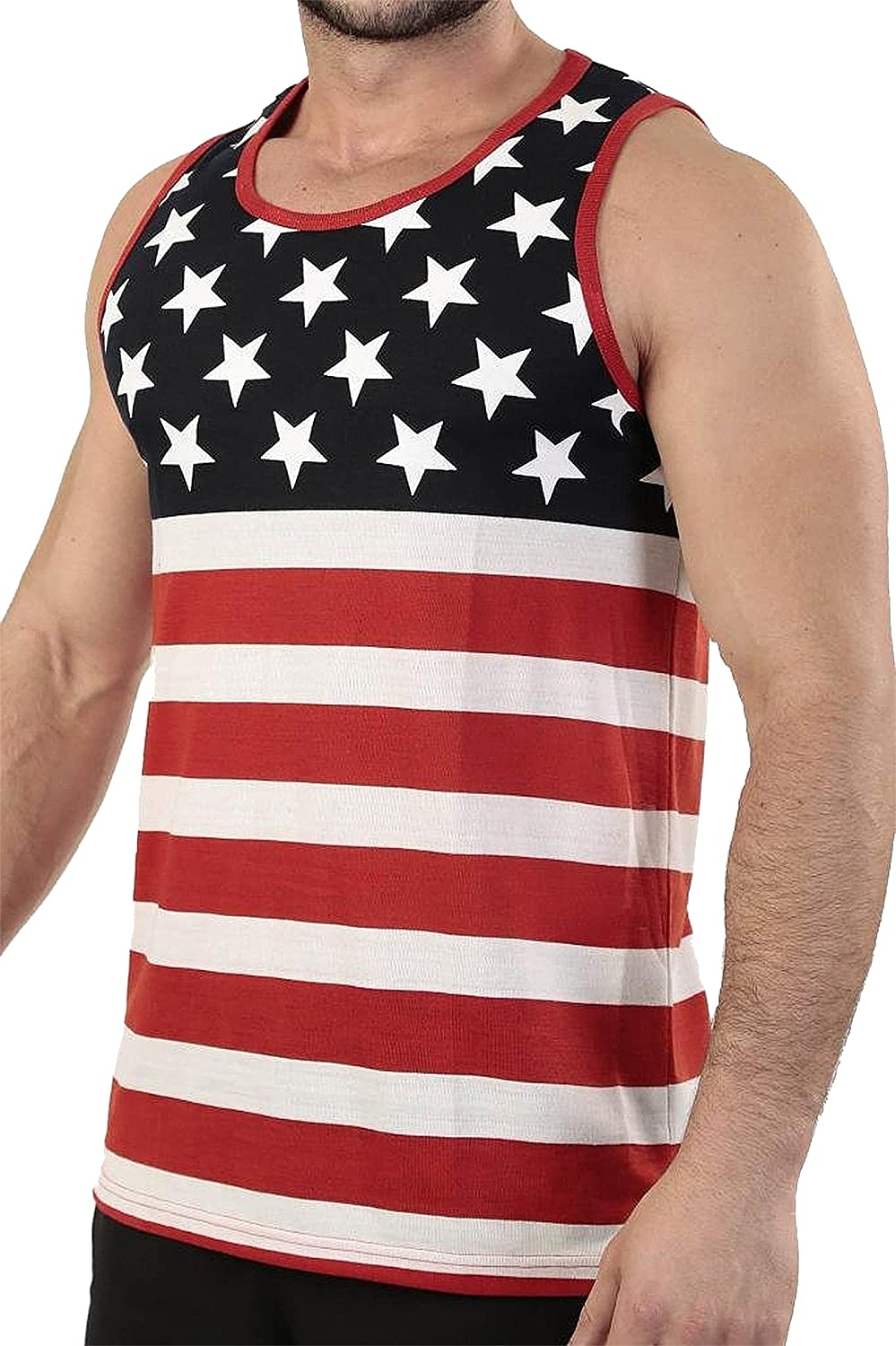 Licensed Mart Mens American Flag Stripes and Stars Tank Top Shirt
