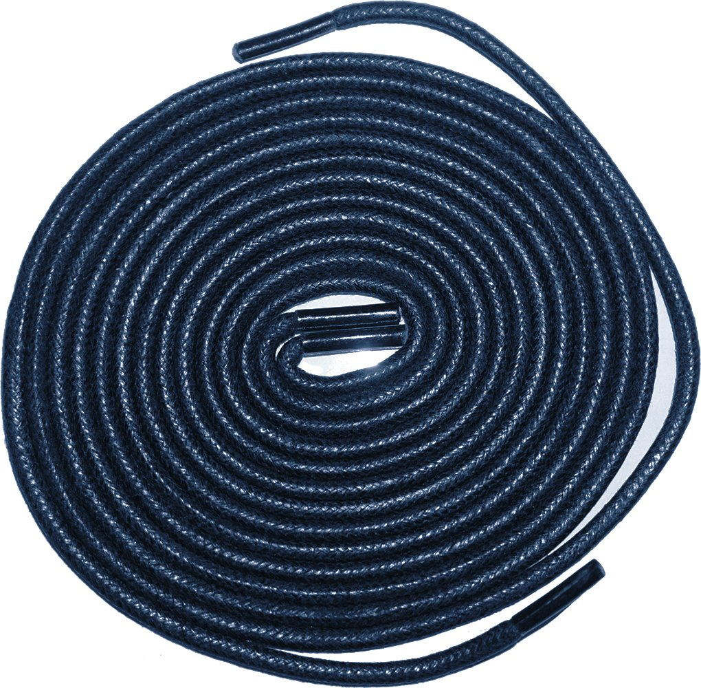 Shoeslulu 47'' Premium Round Waxed Canvas Shoelaces Bootlaces (47 in. (120 cm) Pack of 2, Prussian Blue)