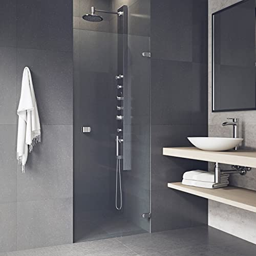 VIGO Tempo 24 to 24.5-in. Adjustable Frameless Shower Door with .3125-in. Clear Glass and Chrome Hardware