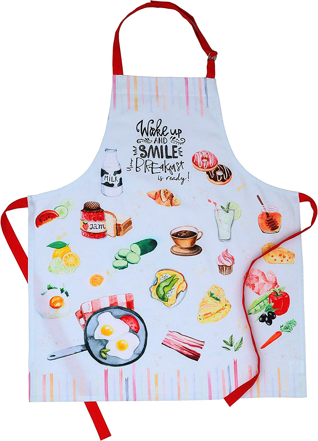 Womens Apron for Cooking Baking and Adjustable Strap at Neck /& Waist Ties AMOUR INFINI Breakfast Apron 100/% Natural Cotton Gardening 27.5 x 33 inches Convenient Pockets