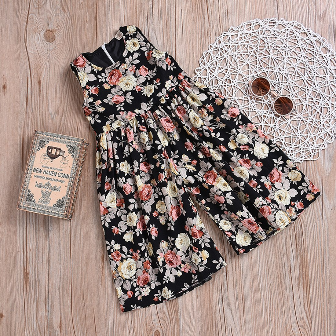 WINAGAINER Toddler Little Girls Floral Print Sleeveless Jumpsuit Romper Wide Leg Pant Playsuit Outfits Summer Clothes