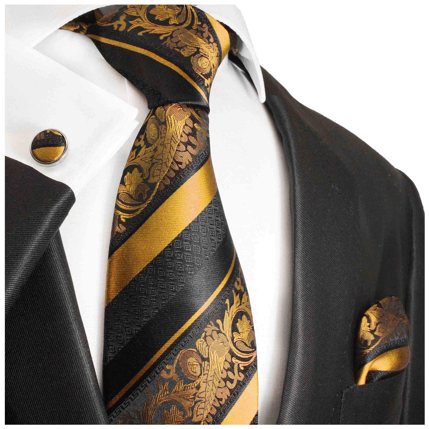 Gold and Black Silk Tie with Pocket Square and Cufflinks