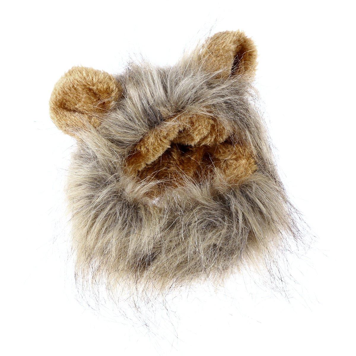 UEETEK Costume da Leone per Gatto Parrucca Criniera per Gatto Cane Piccolo Regolabile
