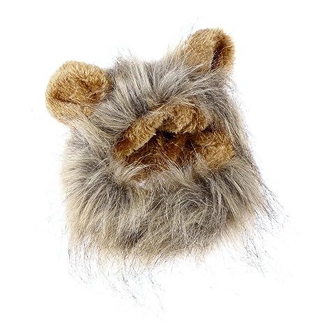 UEETEK Mascota Disfraz León Melena Peluca Leon para Gato Perro Pequeño Ajustable