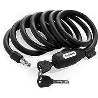 KOHLBURG candado de Cable de 200 cm de Largo - fácil de Cerrar sin Llave - candado para Bicicleta con Soporte - candado…