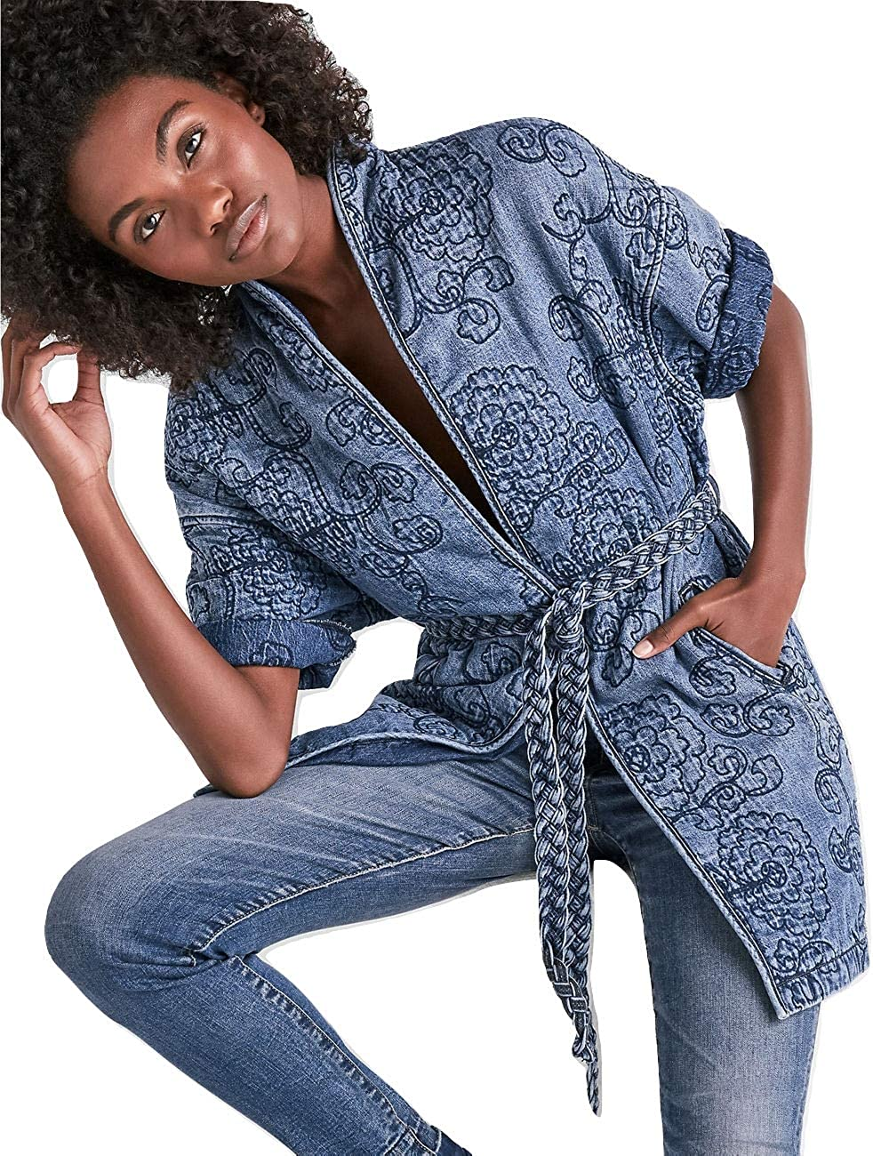 Lucky Brand Womens Fall Quilted Midi Coat Blue S