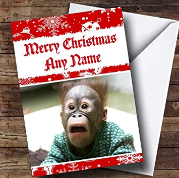 Amazon funny shocked monkey personalized christmas holiday funny shocked monkey personalized christmas holiday greetings card m4hsunfo