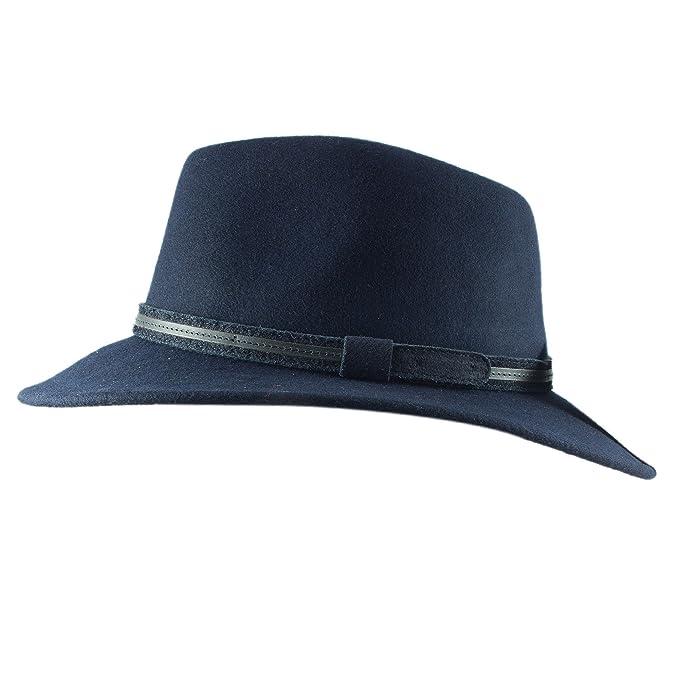 Unisex Faux Suede verano Panamá Fedora Sombrero de fieltro con amplia visera  y cinturón banda 14a0b6da31f