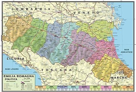 Papel Mapa mural regional Emilia Romagna 100 x 140 bifacciale físico y político: Amazon.es: Oficina y papelería