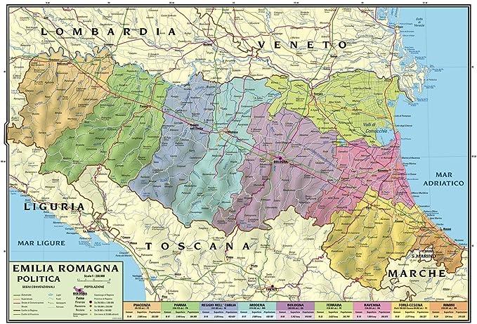 Cartina Emilia Romagna E Lombardia.Carta Geografica Murale Regionale Emilia Romagna 100x140 Bifacciale Fisica E Politica Amazon It Cancelleria E Prodotti Per Ufficio