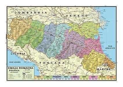 Cartina Dell Emilia Romagna Politica.Carta Geografica Murale Regionale Emilia Romagna 100x140