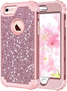 Hekodonk Compatible iPhone 6s Case, iPhone 6 Case, 3D Luxury Sparkle Glitter Shiny Heavy Duty Shockproof Full-Body Protective Cover High Impact Hybrid Case for Apple iPhone 6 /6s -Glitter Rose Gold