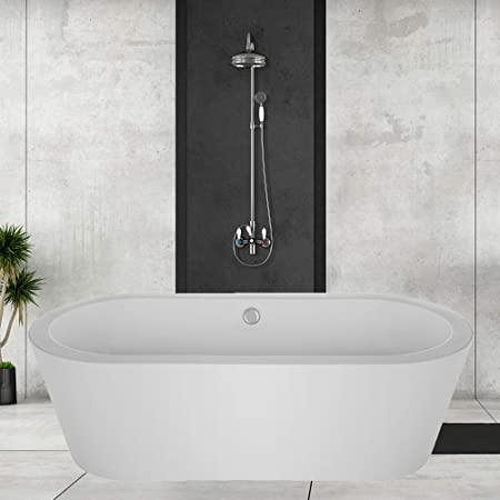 Empava Acrylic Freestanding Bathtub 59 inch Contemporary Soaking Tub with Overflow and Drain White