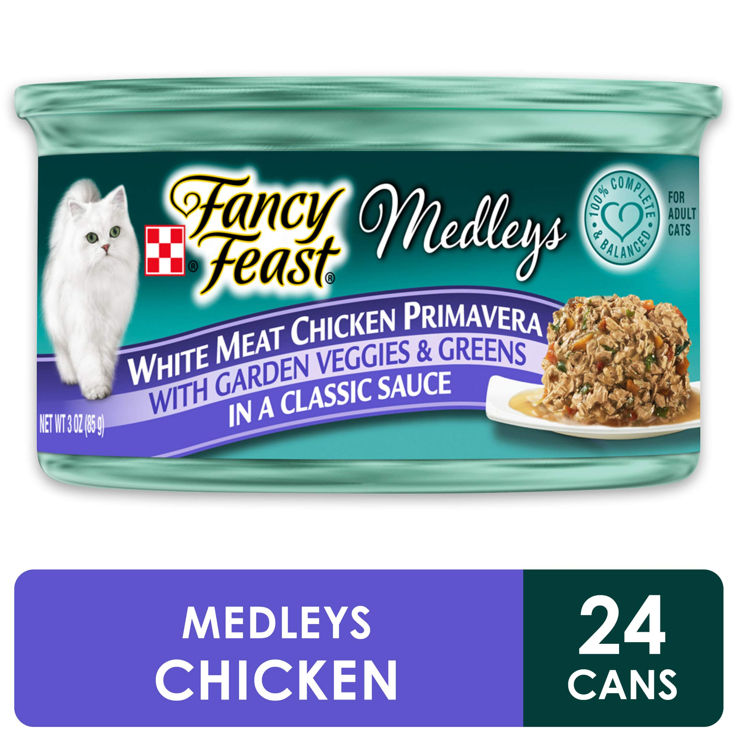 Purina Fancy Feast Gravy Wet Cat Food, Medleys White Meat Chicken Primavera - (24) 3 oz. Cans by Purina Fancy Feast