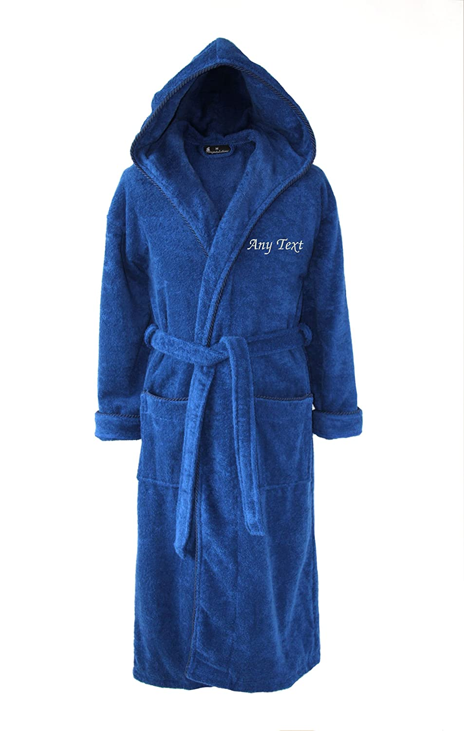 Personalised Hooded Towelling Bathrobe - Dark Blue with Spiral Cord