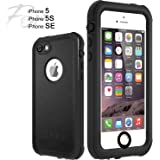 iPhone 5/5S/SE Waterproof Case, Shockproof IP68 Waterproof Case with Scratch Proof Screen Protector Protective Full Body Cover SnowProof DustProof Case for iPhone (black for 5/5S/SE)