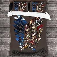 YOMOCO Attack on Titan - Juego de ropa de cama de 3 piezas para adolescentes, juego de decoración para habitación de…