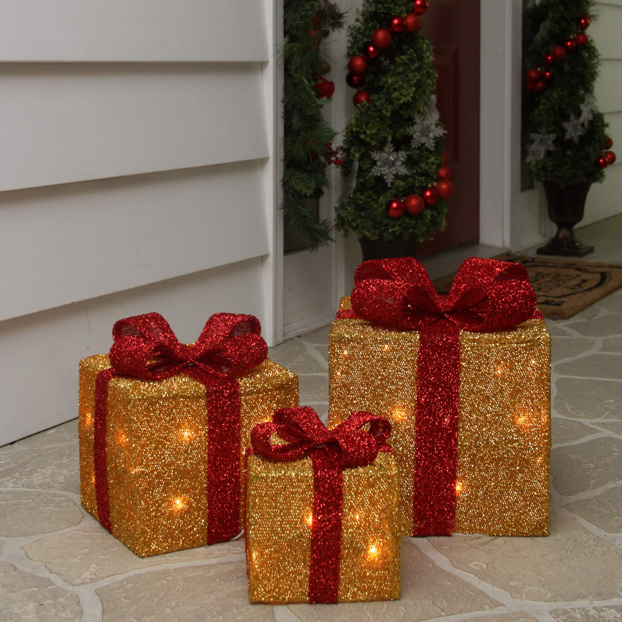 Northlight Set of 3 Gold Tinsel Gift Boxes with Red Bows Lighted Christmas Outdoor Decorations by Northlight (Image #3)