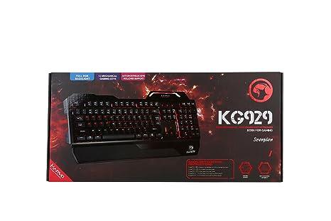 Marvo - KG929 Teclado Gaming internacional semi-mecánico con cable retroiluminado con luz RGB