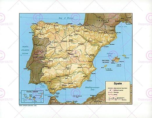 MAPA POLÍTICO DE ESPAÑA 1982 Y MUY GRANDE LA CIA BEGADI PÓSTER PAM1411: Amazon.es: Hogar