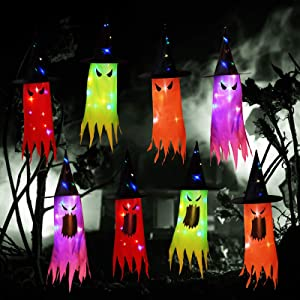 8 Pieces Halloween Decorations LED Lighted Witch Hats Lighted Glowing Ghost Hat Lights String Battery Operated for Halloween Decorations Outdoor Indoor Yard Tree Garden Party Decor