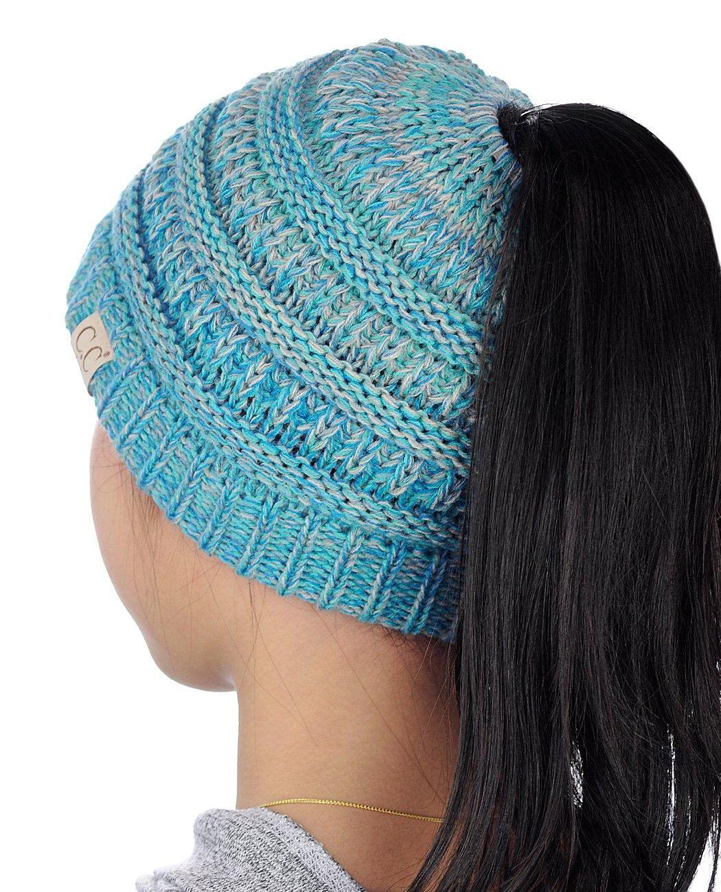b32cb1b87d72 C.C BeanieTail Kids' Children's Soft Cable Knit Messy High Bun Ponytail  Beanie Hat