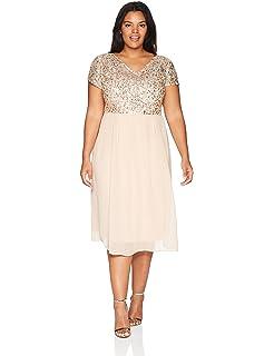 cba81ed29a0 Adrianna Papell Women s Tea Length Beaded Dress with Metallic Mesh Bodice  Plus Size