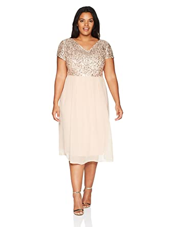 70a629bc4 Adrianna Papell Women's Tea Length Beaded Dress with Metallic Mesh Bodice Plus  Size at Amazon Women's Clothing store: