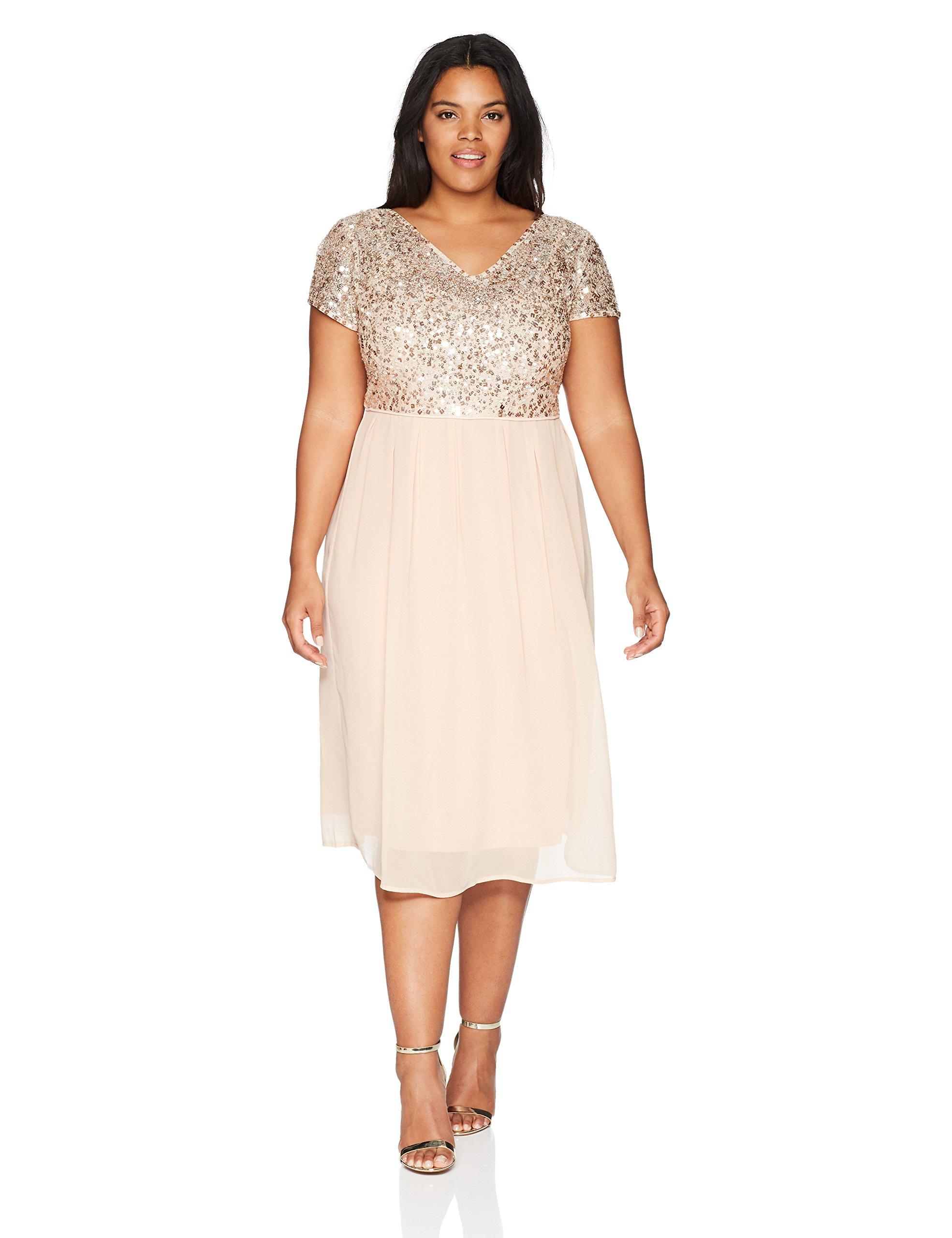 Adrianna Papell Women's Plus Size Tea Length Beaded Dress With Metallic Mesh Bodice, English Rose, 22W