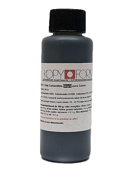 Botella de tinta comestible de 100ml Color Negro para usar con impresoras Canon. Bramacartuchos, envío desde Madrid (Negro)