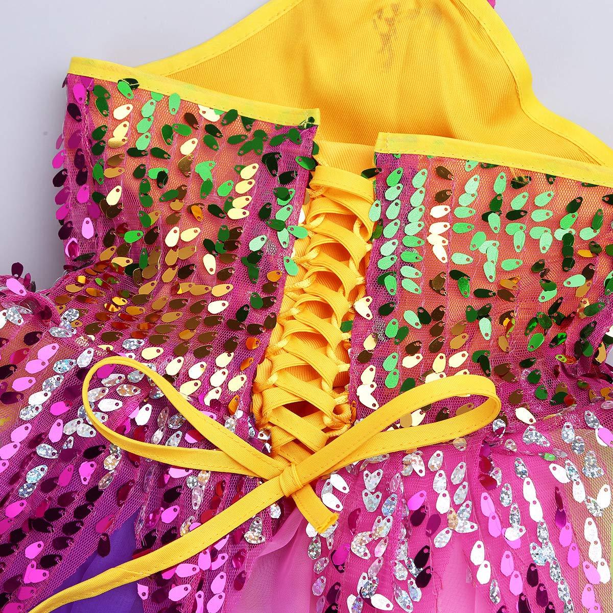 IEFIEL Disfraz Bailarina Ni/ña Lentejuelas Fiesta Vestido de Danza Flores Traje de Ballet Princesa Maillot Tut/ú Ropa para Baile Actuaci/ón Competici/ón Rosa