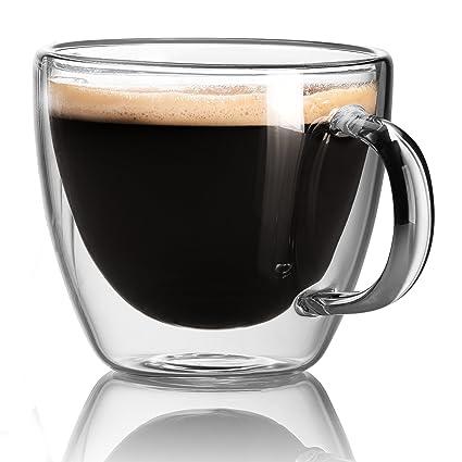 Cappuccino Cups   Double Wall Insulated Glasses   Espresso Mug Set Of 2.  5.4 Oz