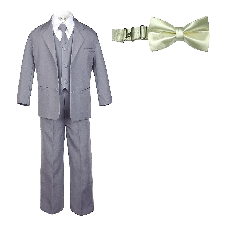 6pc Baby Toddler Boy Formal Medium Gray Suit Set w//Satin Color Bow Tie SM 4T