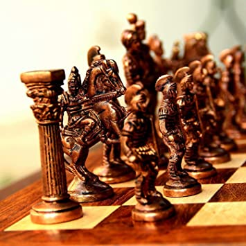 GGICO Chess Set with Brass Sculpted Pieces in Ancient Roman Style and Wooden Board Golden Era for Kids and Adults