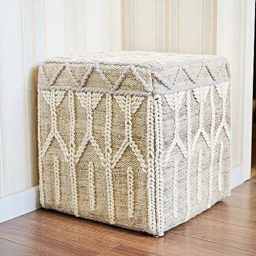 MOTINI Hand Knit Boho Pouf Ottoman 100 Wool Beige Pouf