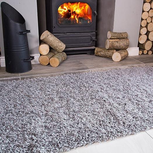 Ontario Silver Light Grey Fireside Fireplace Mantelpiece Hearth Shaggy Shag Fluffy Living Room Area Rug