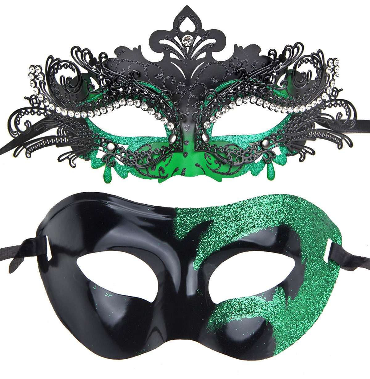 IETANG Couples Pair Half Venetian Masquerade Ball Mask Set Party Costume Accessory (green-15)