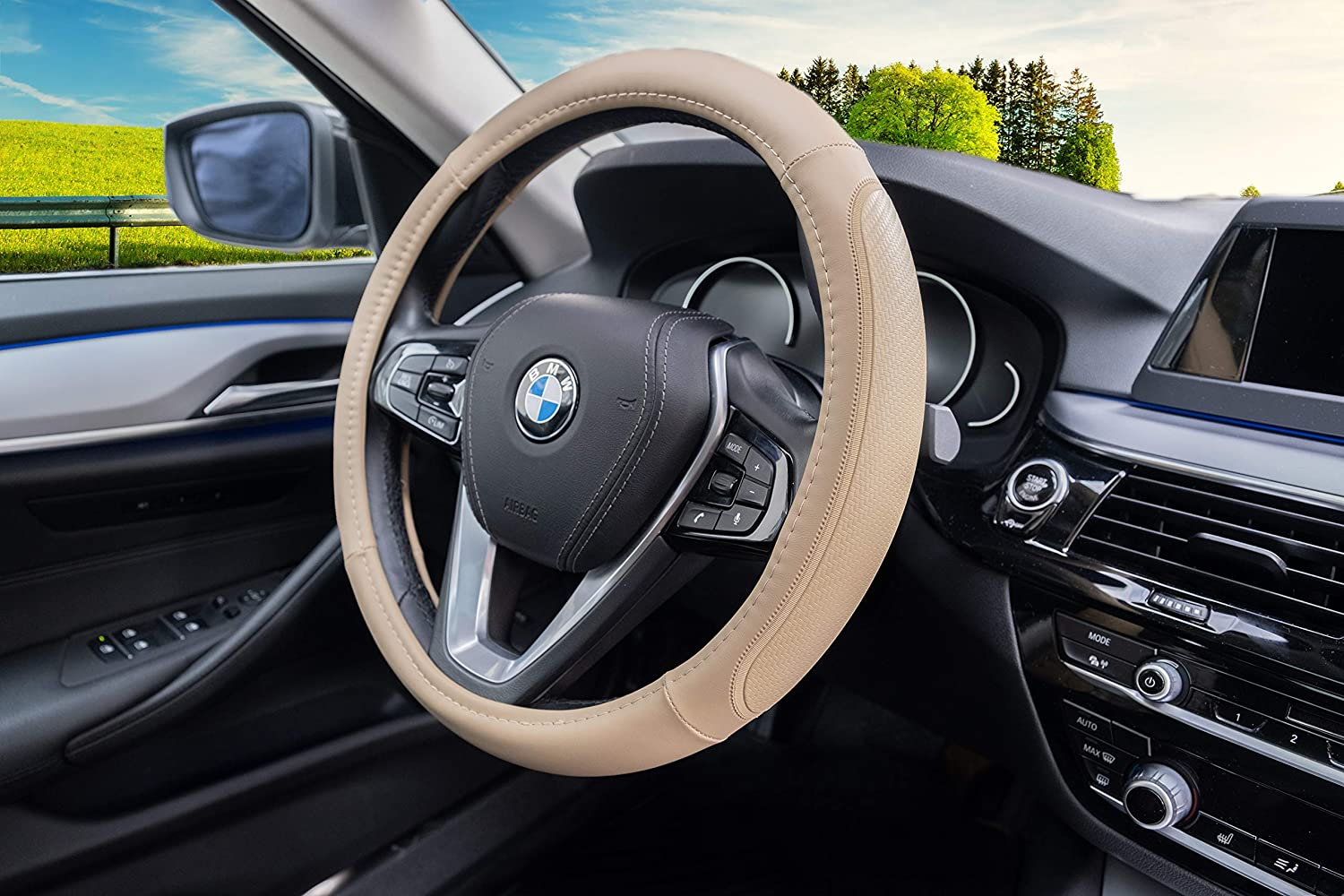 Magnelex Microfiber Leather Steering Wheel Cover Heat Resistant Anti-Slip Car Wheel Wrap Black Compatible with Most Makes and Models of Cars and Trucks with 14.5 to 15 Inch Steering Wheels