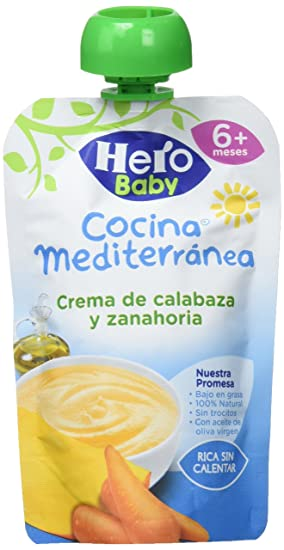 Hero Baby Bolsita Cocina Mediterránea Crema Calabaza Zanahoria - 18 Paquetes de 100 gr - Total