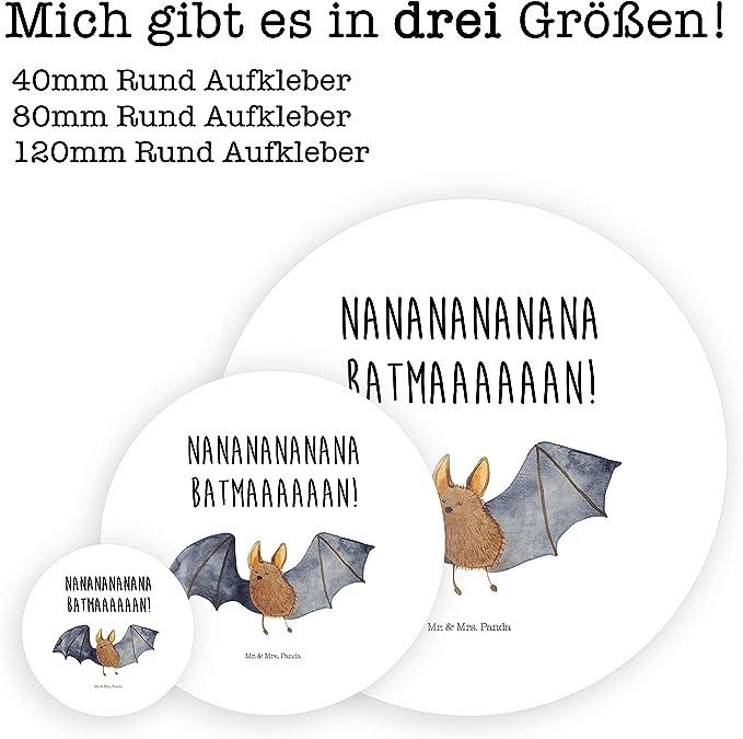 /& Mrs 80mm Rund Aufkleber Fledermaus fliegend mit Spruch Farbe Wei/ß Mr Panda Aufkleber