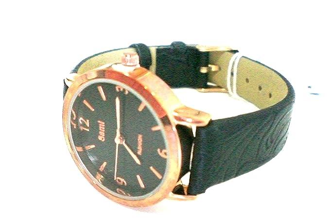 Sami RSM-81210-1 Reloj de Pulsera de Mujer Corona Cristal Correa Piel Negro: Sami: Amazon.es: Relojes