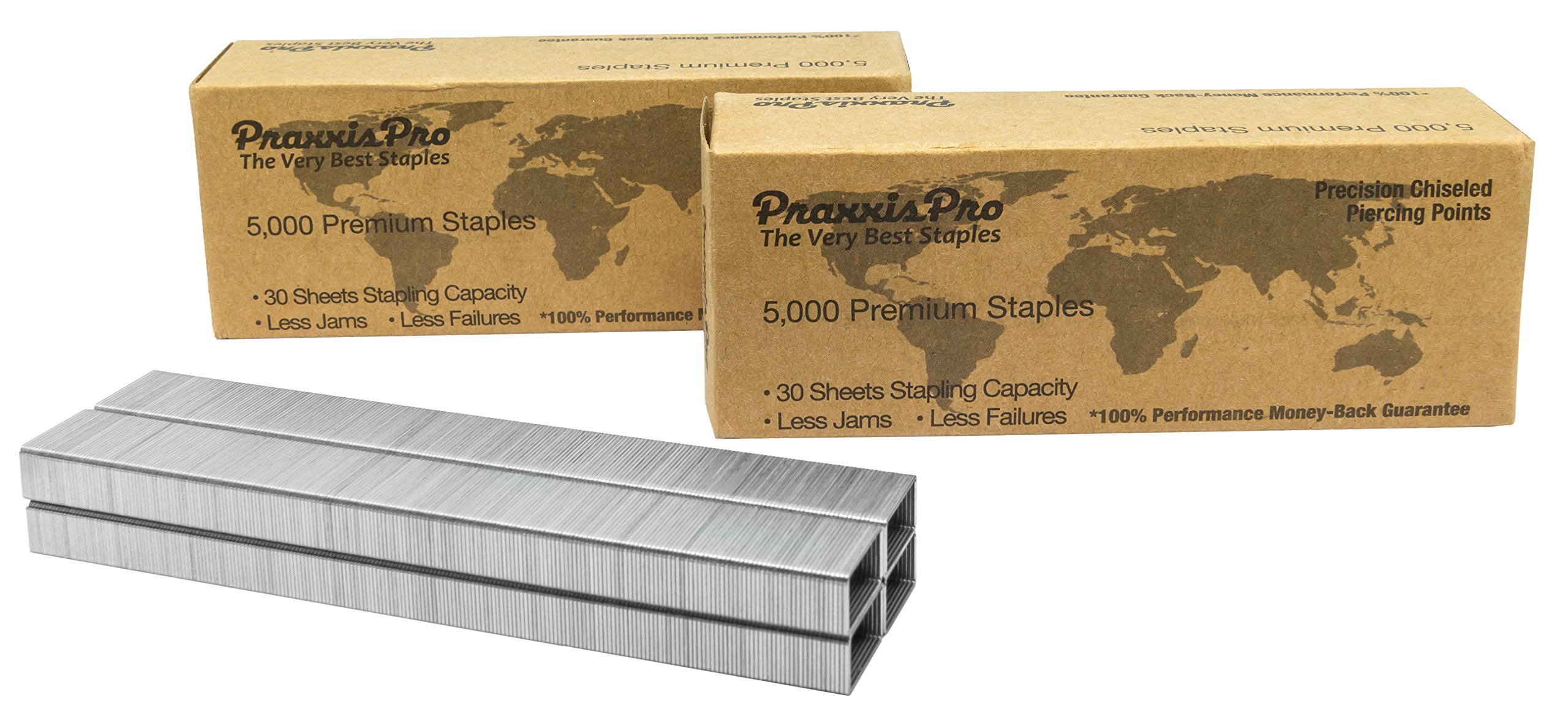 PraxxisPro Powerhouse Premium Staples, 26/6, 25,000 Full-Strip Chisel Pointed Staples, 2 to 45 Sheets, for Powerhouse Electric Stapler and All Standard Staplers - for Office and Home Use