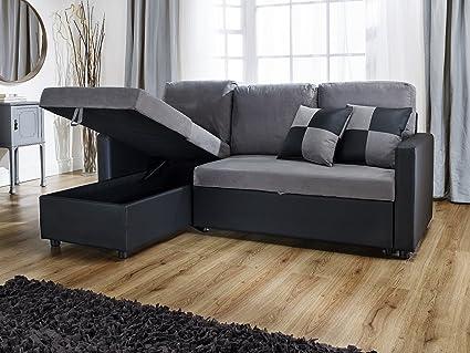 RIO de sofá en forma de L con sofá cama extraíble en negro y ...
