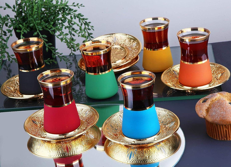 Turkish Tea Cups And Saucers Set of 6 Tea Party Set Glass Tea Cup Tea Gifts For Tea Lovers Tea Mug Gold Tea Pot Serving Tea Sets For Women Men Mom Dad Gold Silver Turkish Tea Glasses Set