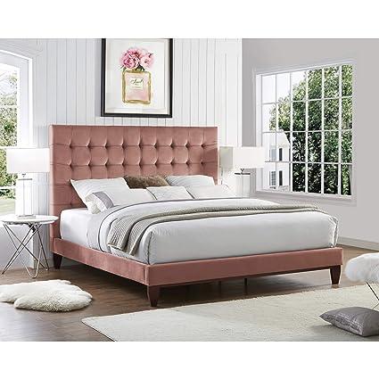 4825480c8d Inspired Home Blush Velvet Platform Bedframe - Design: Bond | Queen Size |  Tufted