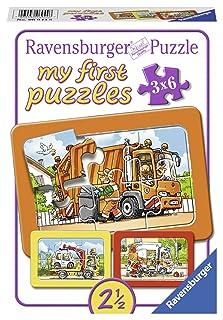 Ravensburger 06944–Camioncino della Spazzatura, Ambulanza, carro Attrezzi, My First Puzzle 3X 6Cornice Puzzle
