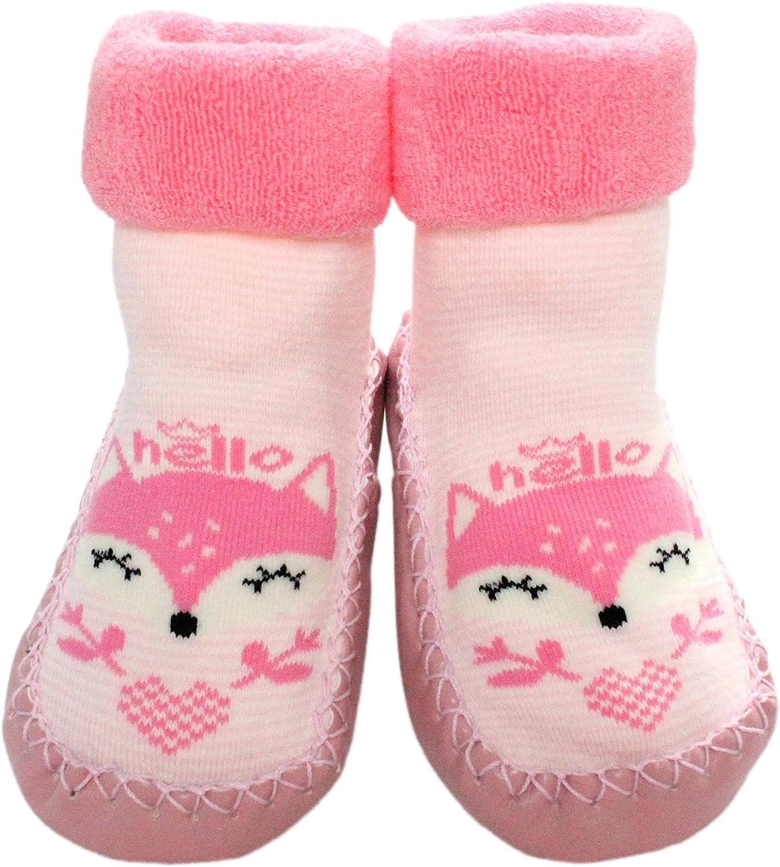 Baby Girls Winter Indoor Slipper Socks Anti-slip Pink Striped Fox 3-24 Months